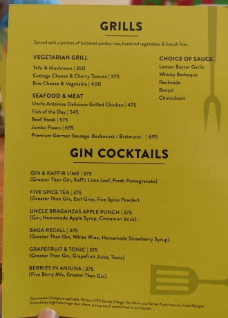 Gin & Grills Menu